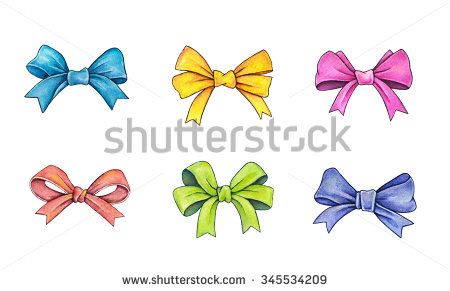 Set of color gift bows isolated on a white background. Watercolor lovely drawing. Handwork - stock photo