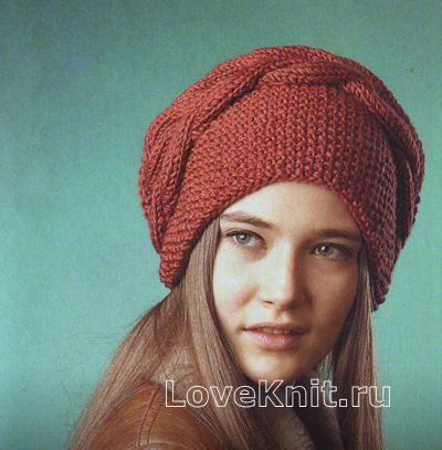 Спицами шапка-мешок и повязка с косой фото к описанию