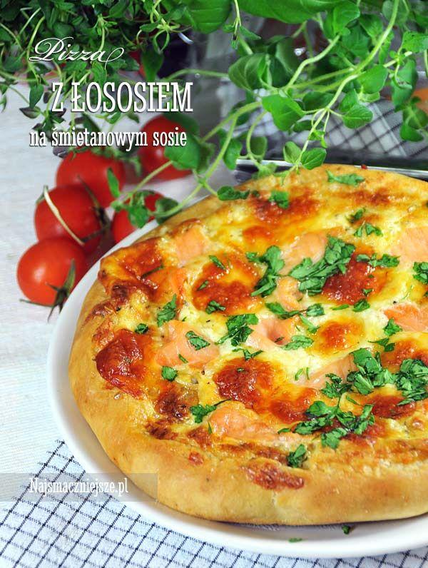 Pizza z wędzonym łososiem, pizza z łososiem, pizza z sosem śmietanowym #pizzaday #food #pizza #salmon #najsmaczniejsze