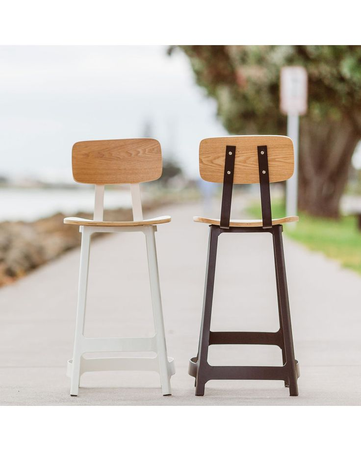 The Austin barstool is a modern interpretation of a vintage factory workers stool. Clever bends and curves applied to the flat steel frame create a friendly edge to its industrial heritage. The soft curves of the oak veneer plywood seating surfaces give the finishing touches to a modern barstool with a hipster personality.