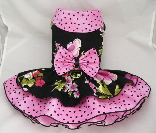 Small dog harness dress. Tutu 5 layer skirt. Floral. by poshdog, $60.00