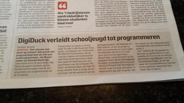 Stuk in het AD over de lancering van de #DigiDuck gisteren. Algemeen Dagblad 30 april 2014