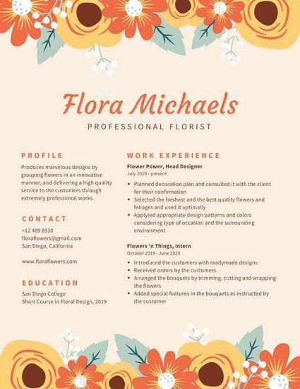 cream with floral border creative resume