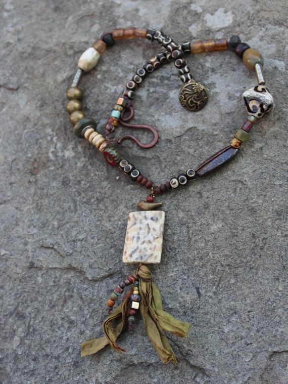 Bohemian Style Necklace with a Treasure by SharonWiselyJewelry