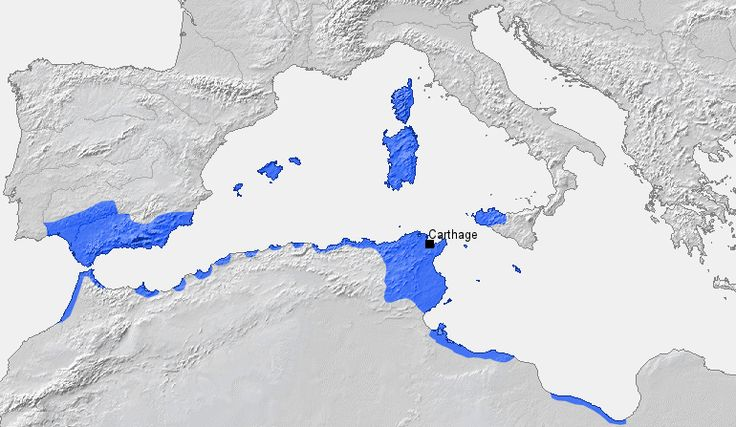 Location of Carthage and Carthaginian sphere of influence prior to the First Punic War (264 B.C.)<br />