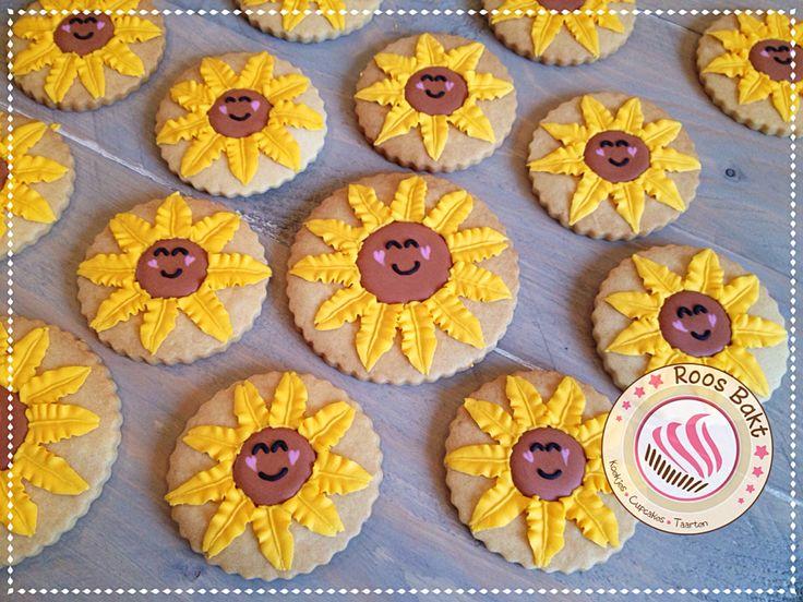 Sunflower cookies Gedecoreerde zonnebloem koekjes