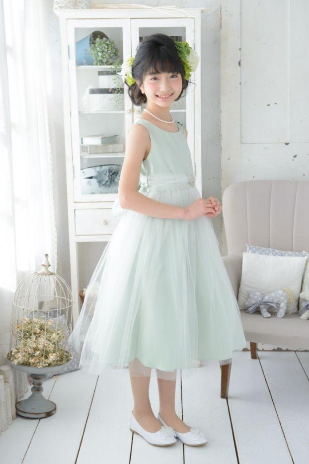 子供ドレス ピアノ発表会ドレス 12-208(150cm)セージ