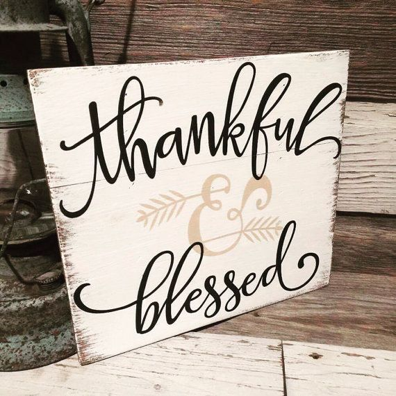 Fall Sign Thankful and Blessed by TheRusticRaven15 on Etsy