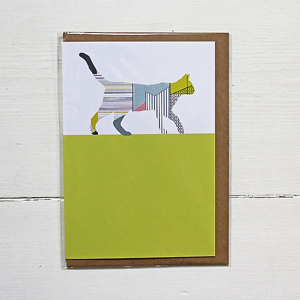 An individual greetings card featuring a beautiful illustrated Cat, drawn using delicate geometrics and bold colour blocks. By Lucy Alice Designs.