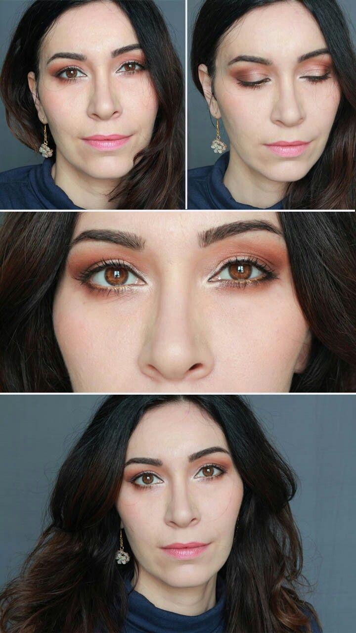 Trucco occhi e labbra elegante e soft sui toni del pesca. #trucco #makeup #makeupocchiscuri #truccoelegante #browneyemakeup