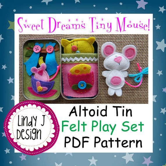 Sweet Dreams Tiny Mouse  Altoid TIN BOX Play Set by LindyJDesign