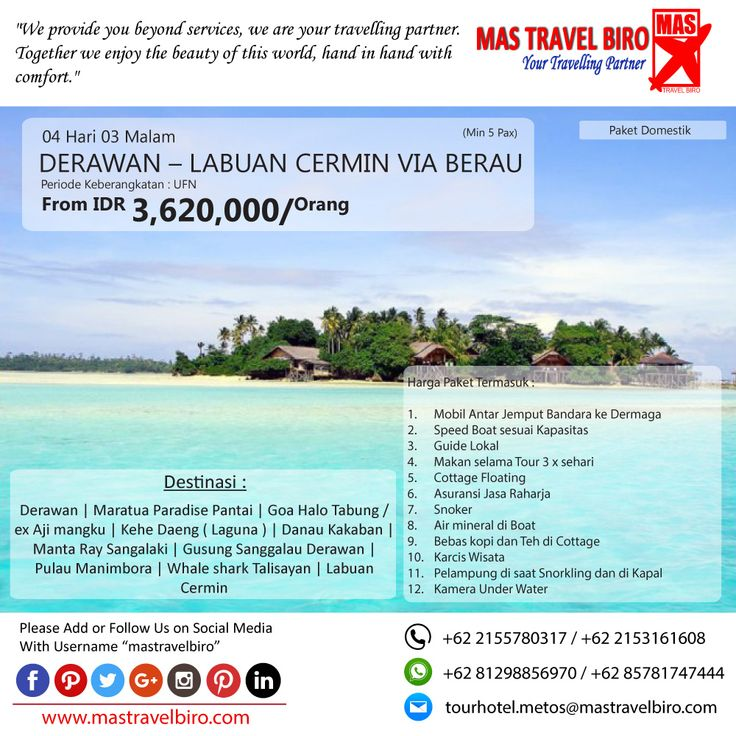 Promo Tour DERAWAN, Yuks di pilih masih banyak lagi promo Tour Domestik dan Internasional😊   (Paket tour belum termasuk tiket pesawat)  Beli tiket pesawat & KAI, booking hotel dan beli paket tour diMas Travel Biro ajaa.  #mastravelbiro #promotiket #travelservices #tiketpesawat #travelagent #tourtravel #travelindonesia #opentrip #familytour
