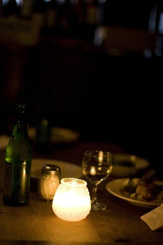 Anyplace with good food, wine, and candlelight.