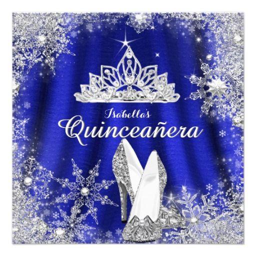royal blue quinceanera silver tiara 15th birthday card