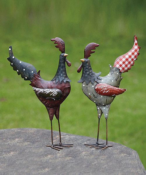 Bring a bit of charm to décor. This rustic rooster set offers a simple way to add an element of country tranquility to any room.Includes two figurinesEach figurine: approx. 6'' W x 10.25'' H x 2.75'' D100% ironImported