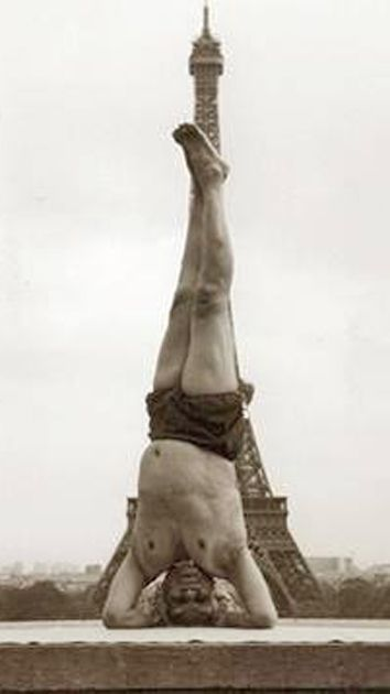 1952, BKS Iyengar practicing yoga in Paris, France (vintage yoga)