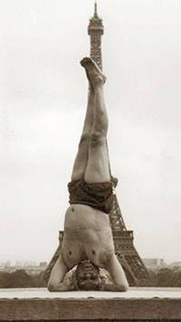 1952, BKS Iyengar practicing yoga in Paris, France #vintageyoga #yoga