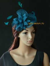 New Arrival.Teal blue sinamay Fascinator hat with feathers and sinamay flower for kentucky derby wedding church races party(China (Mainland))