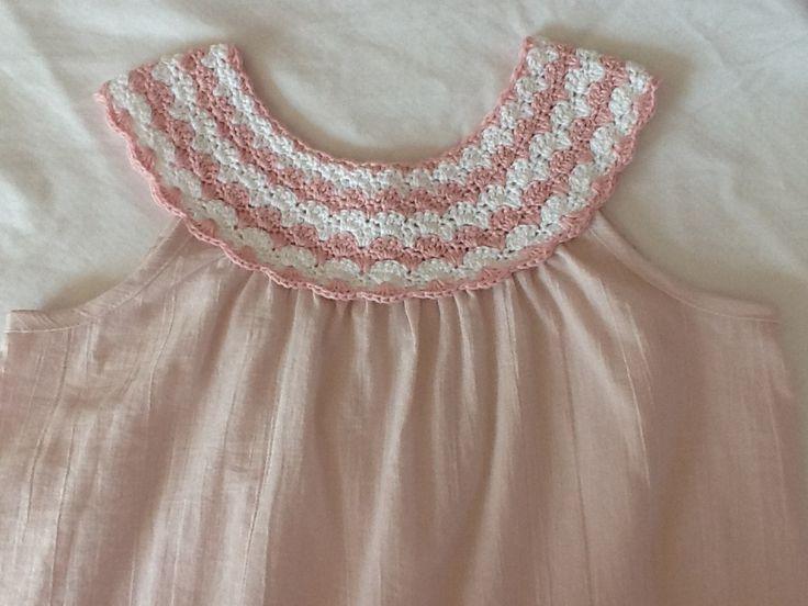 Crochet yoke. Marianela Collado Could add this to a pillow case dress