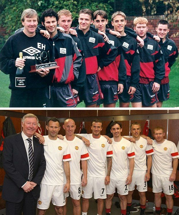 Manchester United's Class of 1992 Sir Alex Ferguson (bottom) Eric Harrison (top), Sir Ryan Giggs, Nicky Butt, David Beckham, Gary Neville, Phil, Neville, Paul Scholes, and Terry Cooke.
