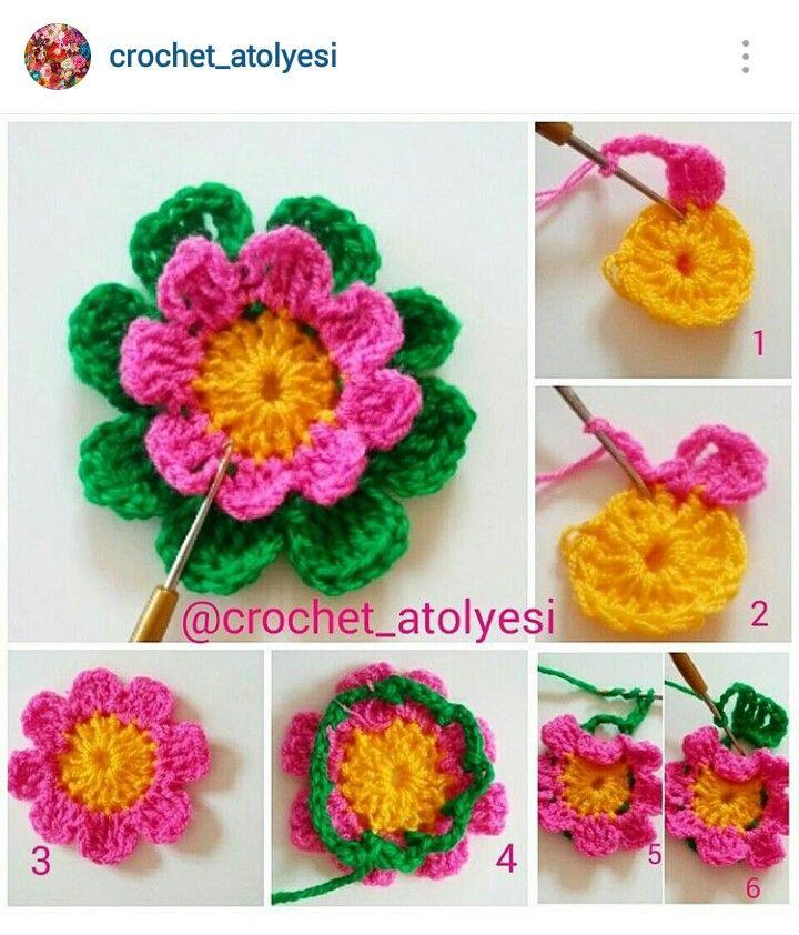 150 besten Crochet flowers #1 Bilder auf Pinterest | Häkelmotiv ...