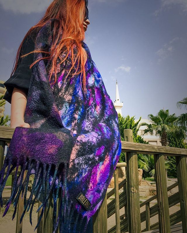 Hand felted scarf #fashion #style #valeins #handmade #silk #scarf #nunofelt #felt #streetstyle #streetfashion #aucklandfashion #merino #merinowool #newzealandwool #nzfashion #blue #purple #redhair #textile #stairs #OOTD #insta_art #creativeshot