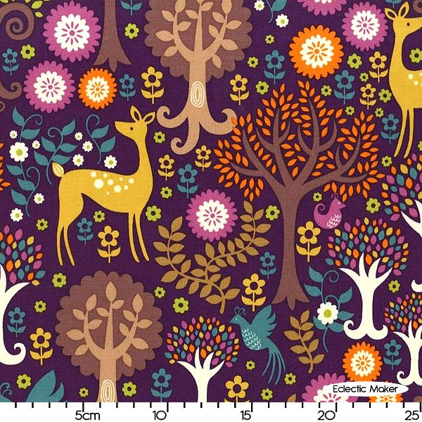 Purple Michael Miller Fabric Fantasy Forest in Purple for patchwork quilting and dressmaking from Eclectic Maker [CX5966_Purple] : Patchwork, quilting and dressmaking fabric, patterns, habberdashery and notions from Eclectic Maker