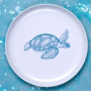 Porcelain dinner and dessert plate (both sizes available) with hand drawn illustration of sea turtle in turquoise.
