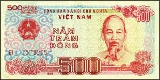 Economy: This is a picture of a Vietnamese Dong worth 500 in Vietnamese currency. One Dollar is converted into 21,205 Vietnamese Dong.
