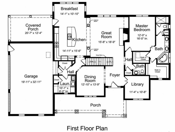 Traditional Style House Plan - 4 Beds 2.5 Baths 2776 Sq/Ft Plan #46-522 Floor Plan - Main Floor Plan - Houseplans.com