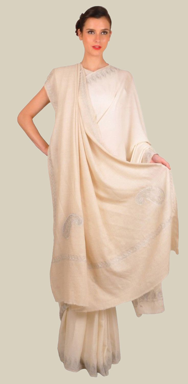 Ivory Pure Pashmina Saree & Shawl Set With Paisley Tilla Embroidery