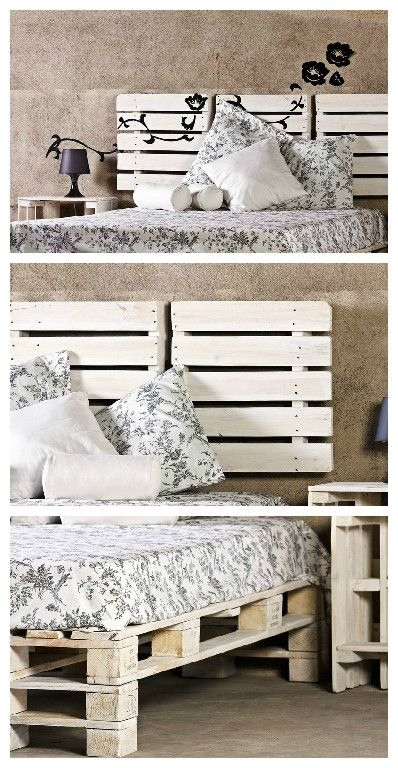 Another work ofProBosc made from recycled pallets. Bed, headboard and nightstand are made from old pallets, sanded and painted in white. For a shabby chic spirit :)…