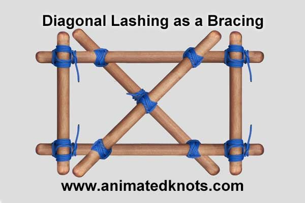 Diagonal Lashing as Bracing: good for practicing variety of lashes
