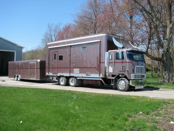 This is a 1991 International Cabover 9670 Motorhome Conversion. It's got a 350 Cummins diesel engine and comes with matching 26ft trailer. The motorhome is for sale for $50,000 on the Vermont…