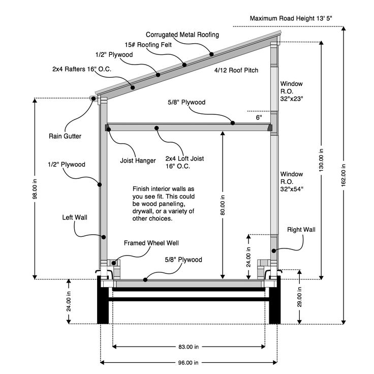 Shed Roof Framing Details 8 16 Free House PlansTiny House Design