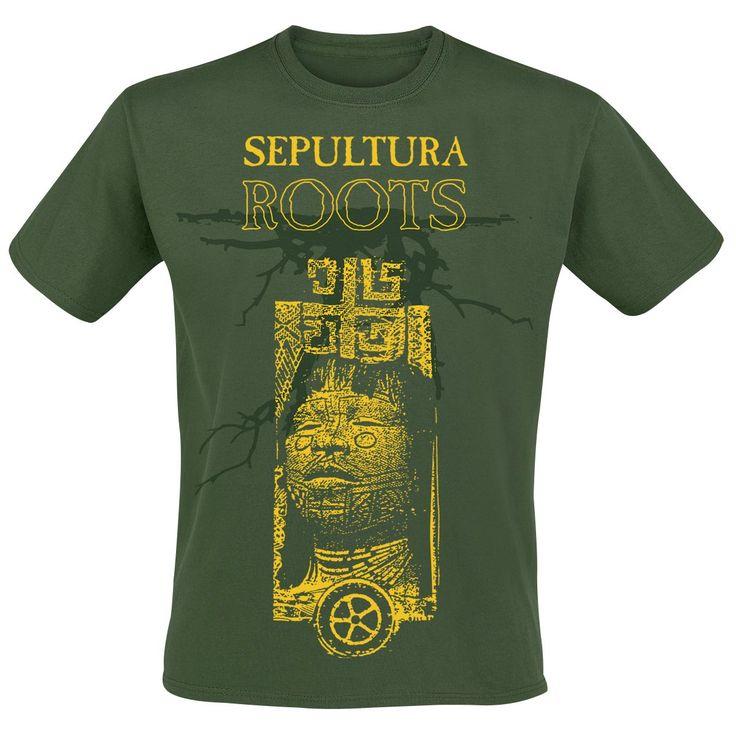 """Classica T-Shirt uomo verde """"Roots 30 Years"""" dei #Sepultura con scollo tondo, ampia stampa frontale e piccola stampa sul retro."""