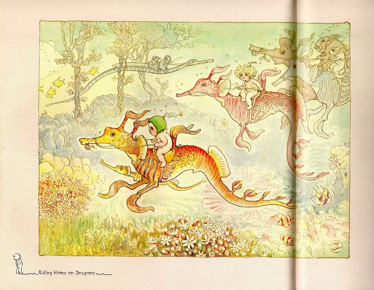 Riding Home on the Dragons - Gumnut Babies by May Gibbs.