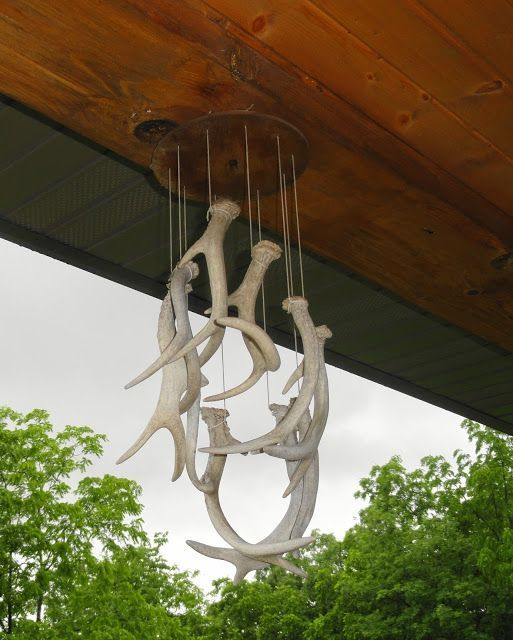 Repurposed In Iowa: Whitetail Deer Shed Antler Wind Chime Great For Rustic Outdoor Cabin Decor Decorations #DIY-Crafts