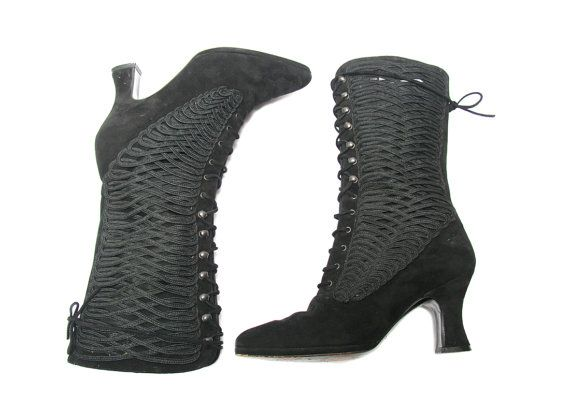 "Black Suede Lerre Lace Up Ankle Boots  Size 35 by GhostClubVintage ~ A ~ MAZ ~ ING, but WAY too tiny, sadly! :""("