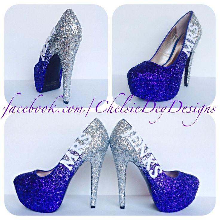 Glitter Wedding High Heels, Purple Silver Ombre Platform