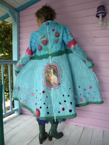 Really awesome long felted romantic coat in a gorgeous light turquoise color!!