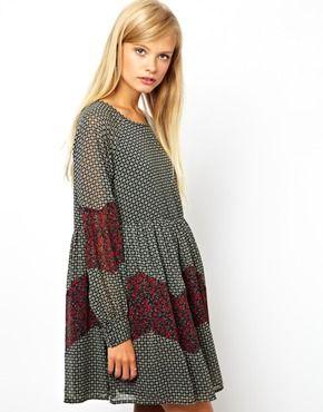 Image 1 ofASOS Smock Dress In Patchwork Print