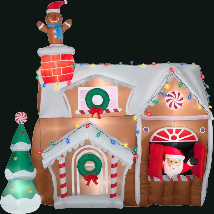 Gemmy In L X In W X 106 3 In H Inflatable Animated Gingerbread House 83699x