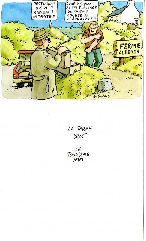 Gilles Nicoulaud, Le tourisme vert, aquarelle, 2000/ ©Musée du Vivant - AgroParisTech