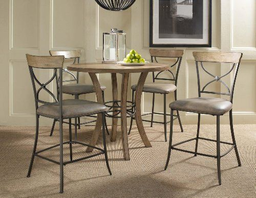 Hillsdale Charleston 5 Piece Round Counter Height Dining Table Set With  X Back Stools In Distressed Desert Tan