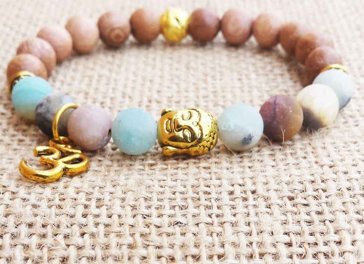 Rose Wood Amazonite Bracelet Buddha Bracelet Golden Buddha Spiritual Buddhist Yoga Om Charm Bracelet Yoga Jewelry Rustic Earthy Jewelry
