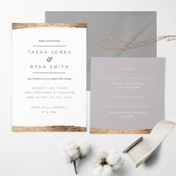 Rose Gold Whisper Wedding Invitation