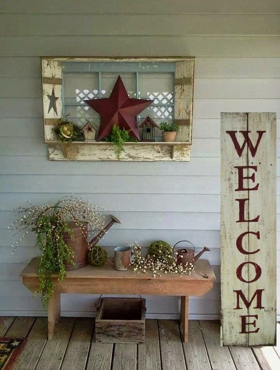 WELCOME ~ What is a rustic porch without a WELCOME sign! This reclaimed wood sign is painted in Antique Cream with the words WELCOME hand painted in Barn Red. The sign is distressed then finished off with a satin polyurethane for outdoor preservation. The back side is left unfinished.  Custom colors/words are welcomed.  Approximate size: 48 tall by 11 wide.  Note: Our pieces are made of reclaimed wood which comes with knots, dings, small chips, holes and imperfections. We dont try to co...