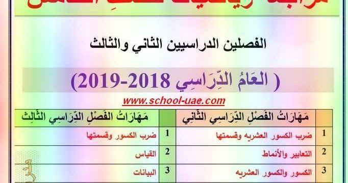 متابعى موقع مدرسة الإمارات ننشر لكم ملزمة مراجعة الرياضيات للصف الخامس الفصل الثانى والثالث 2019 وفقا لمناهج وزارة التربية والتعليم School Math Periodic Table