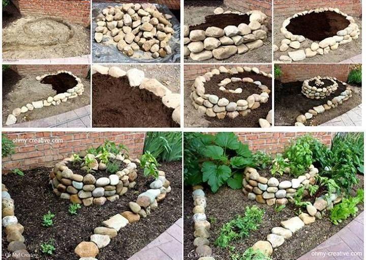 Spiral Garden Art garden diy gardening how to tutorial garden art garden crafts